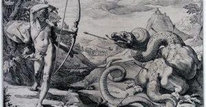 Dios Apolo lucha contra la Gran serpiente