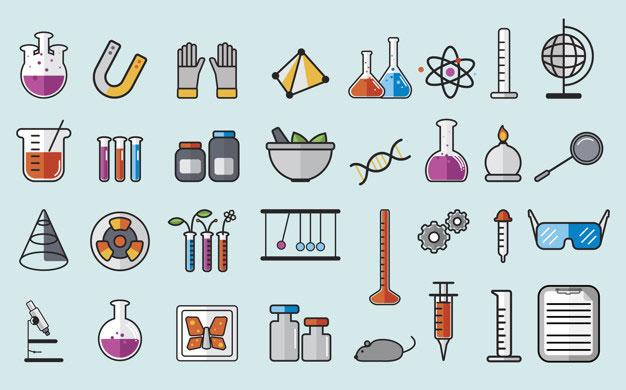instrumentos de un laboratorio de química