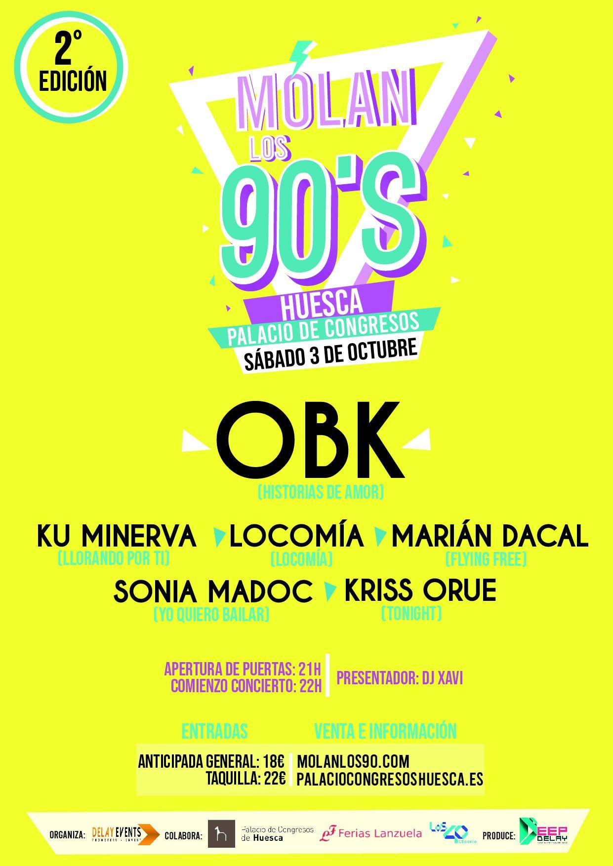 """Acceso gratuito para sanitarios de Huesca al concierto """"MOLAN LOS 90"""""""